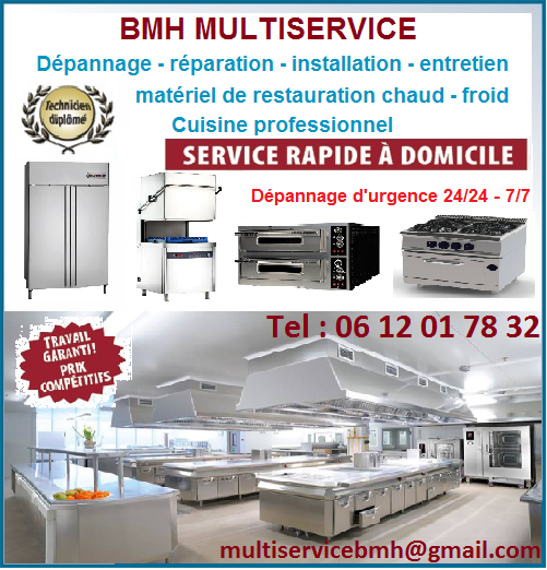 Bmh multiservice ile de france r paration mat riel de for Materiel de restauration